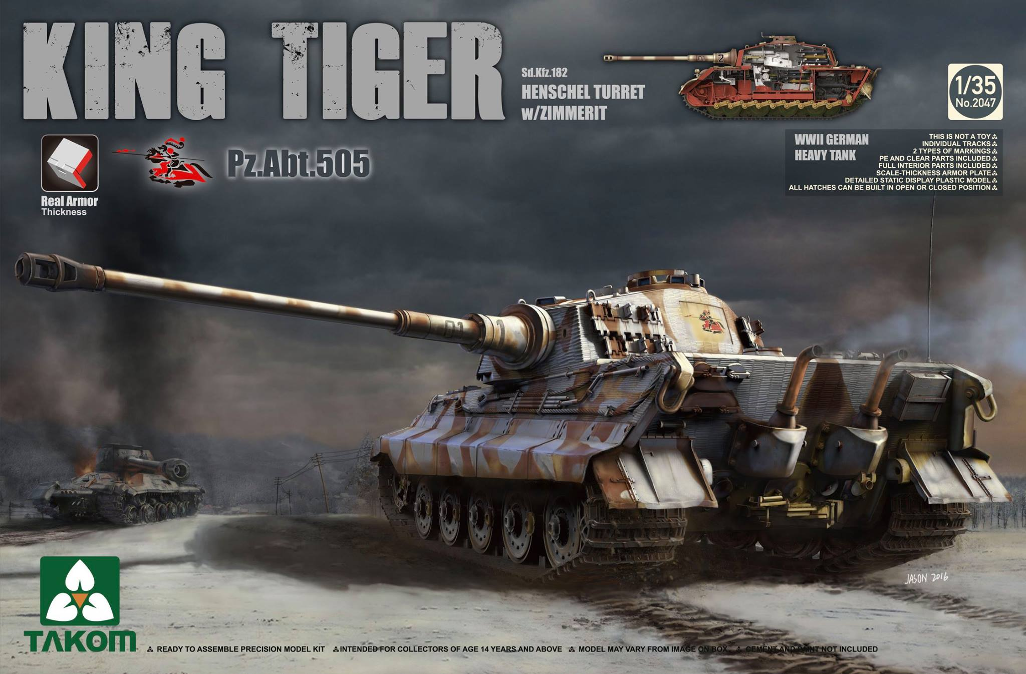 Takom King Tiger Pz.Abt.505 1/35The mighty King Tiger, with full interior, from Takom